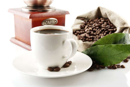 winnower: Coffee cup with winnower and sack of coffee beans on white