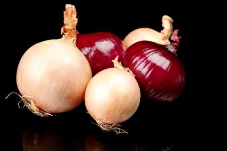 cebollitas: Las cebollas y cebollas rojas sobre fondo negro Foto de archivo
