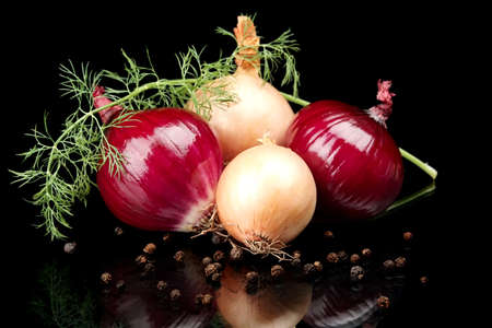 Onions,red onions,dill,pepper and allspice isolated on black background