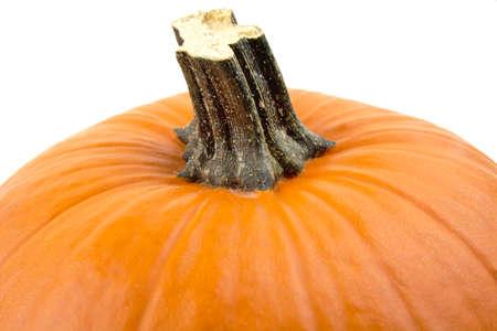 cropped: Studio shot of cropped orange pumpkin isolated on white background Stock Photo