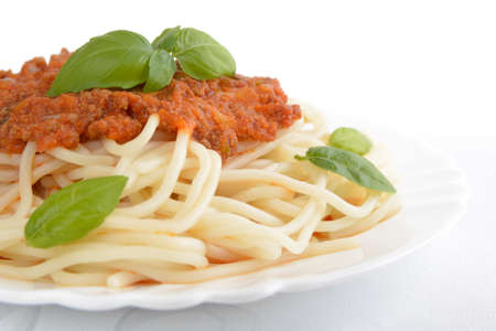 cropped shot: Close up pasta with bolognese sauce on white background,cropped shot