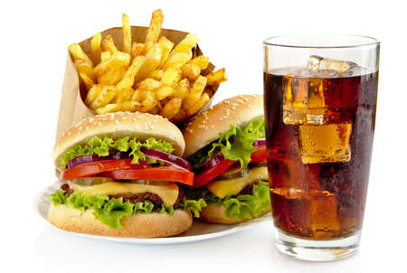 cheeseburgers: Set of big cheeseburgers with french fries and glass of cola on plate