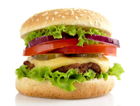 Big single cheeseburger isolated on white background Stock Photo