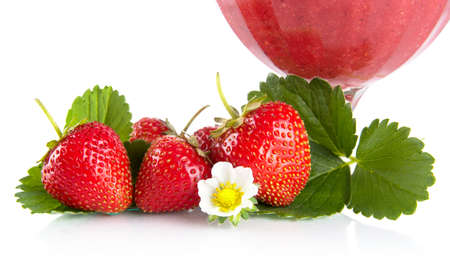 cropped shots: Cropped view of strawberries with goblet,leaves,flower on white background