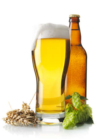 scum: Mug of beer on table with hop cones, ears of wheat isolated on white background