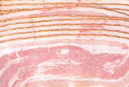 rind: Background made of sliced ham bacon texture in full length