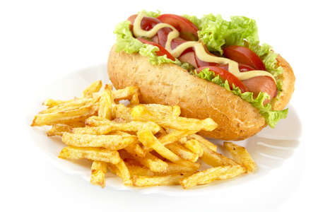 spreaded: Hotdog with french fries on a plate on white background