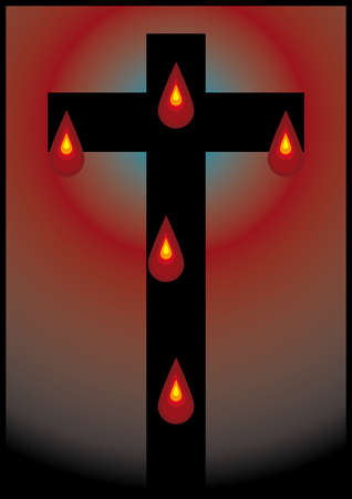crucifix with five drop of blood  Vector