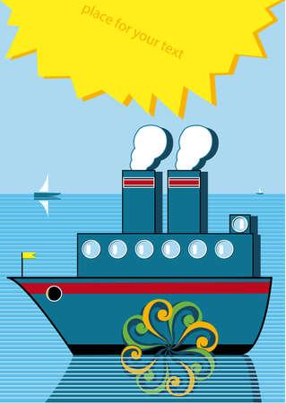 steamship: stoom  Stock Illustratie