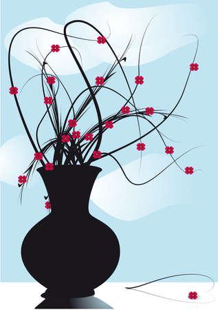 vase mourning flowers on windows Illustration