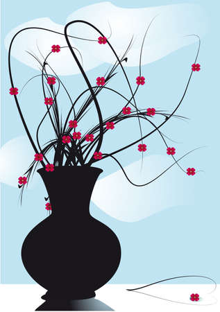 condolence:  vase mourning flowers on windows Illustration