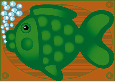fish on brown background air spaces Stock Vector - 4990185