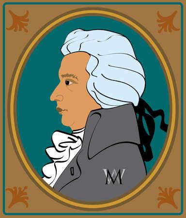 amadeus mozart: retrato de Wolfgang Amadeus Mozart en el marco