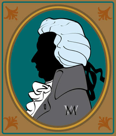 mozart: silouhette wolfgang amadeus mozart in frame Illustration