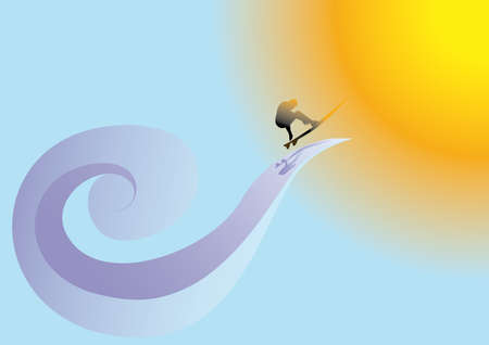 surfer aim at sea wave to sunshine Stock Vector - 4990199