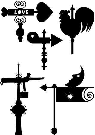 wiatrowskaz: sillouhet humoru wietrznych wiatrowskaz posiadające różne kształty