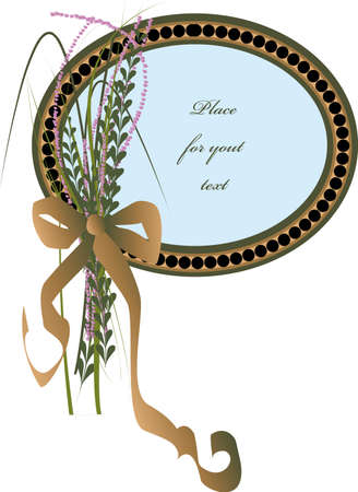 condolence: oval mourning frame with flowers plus ribbon Illustration