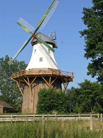 The old white German windmill Stock Photo - 7923410