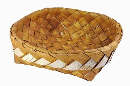 birchbark: Empty braided birch-bark bread box isolated over white background