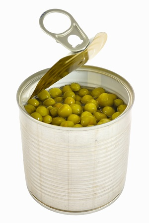 Opened can with pea with key lid isolated over white background. photo