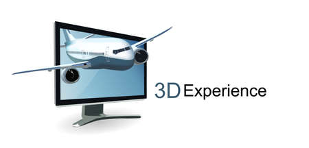 comercial: backgroun for 3D screens with airplane  Illustration