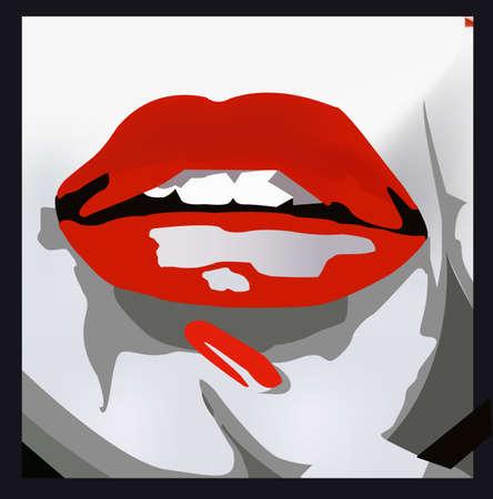 noir: sensual lips vector illustration Illustration