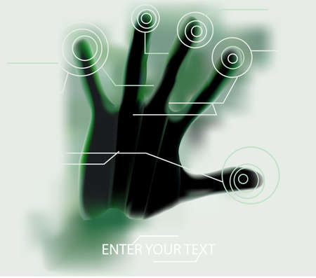 touch screen hand green Stock Vector - 16906274