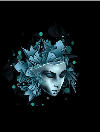 feminize: Woman head abstract background vector illustration for posters and banners  Illustration