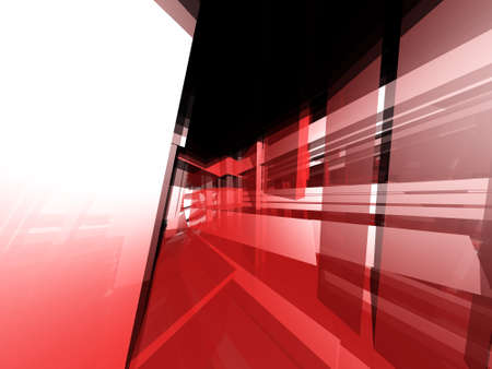 reflective: Abstract 3d technical translucent and reflective red objects
