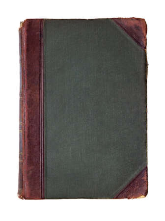 antiquarian: Antique book with leather details on a white background Stock Photo