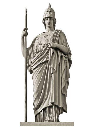 Clásica diosa griega Atenea estatua aislado en blanco Foto de archivo