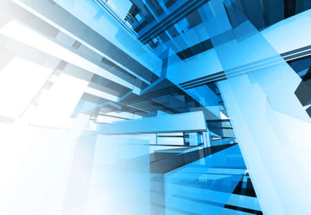 architectural design: Abstract complex technical blue object Stock Photo