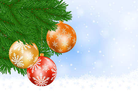Christmas tree and baubles against a snowy background Stock Photo