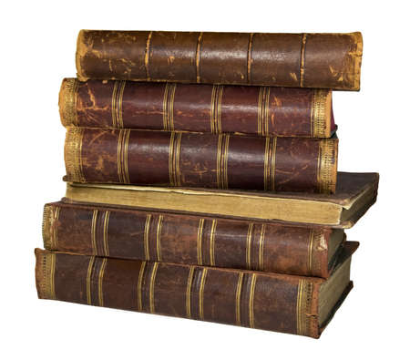 Alte Bücher mit Lederrücken auf dem weißen Hintergrund