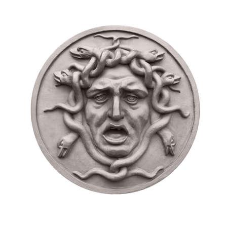 mythical: Head of mythical monster Medusa isolated on white