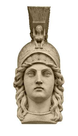 diosa griega: Clásica diosa griega Atenea escultura de la cabeza aislada en blanco