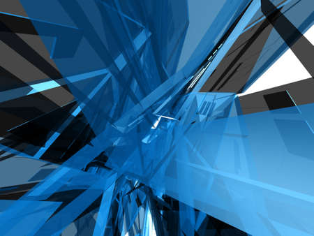 architectural design: Abstract technical translucent blue object