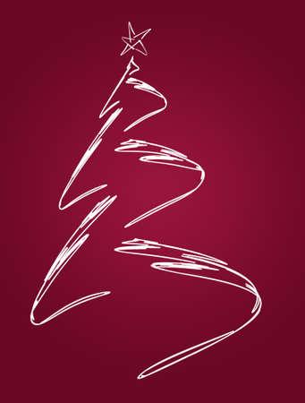 Stylized christmas tree with a star on a red background Reklamní fotografie
