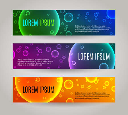Set of 3 abstract banners with multiple colored bubbles Ilustrace