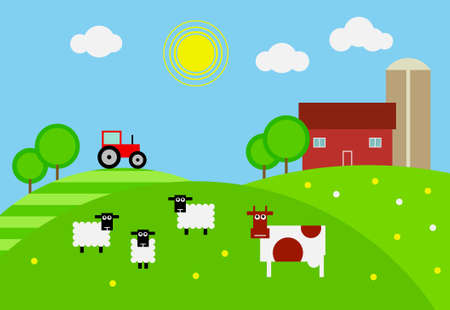Cartoon farm with house, tractor and livestock on the pasture