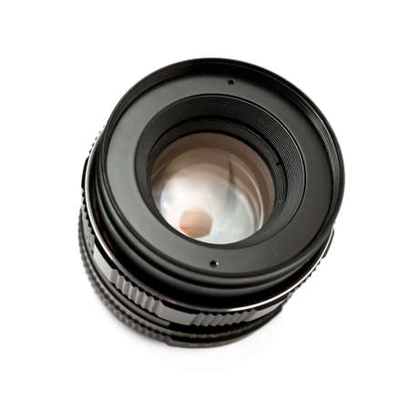 Retro camera lens with fixed focal length. Isolated on white Reklamní fotografie