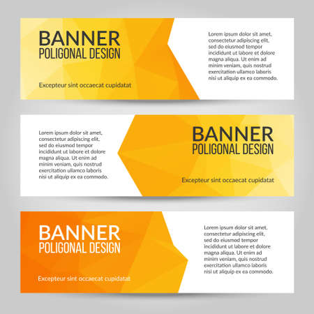 Abstract polygonal vector banners set. Low poly banners with triangles. White, yellow, orange colors Ilustrace