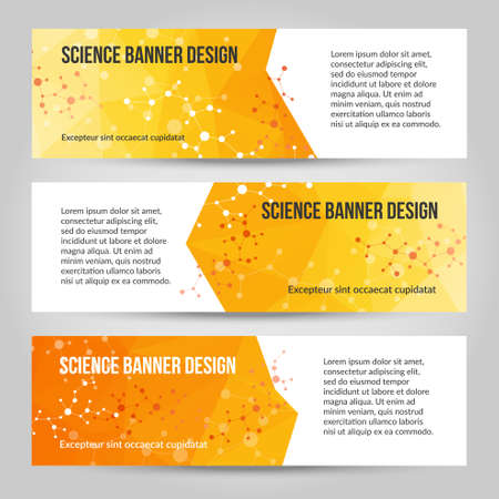 Abstract polygonal vector banners set. Low poly banners with triangles. Science and medicine template. Molecule structure.White, yellow, orange colors