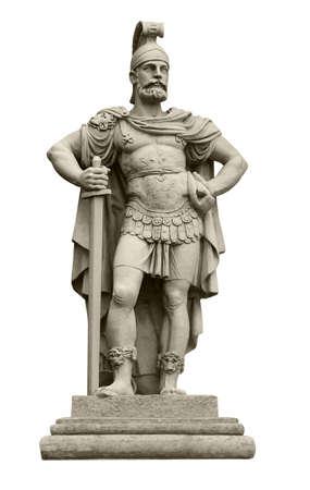 그리스 신화에서 Ares와 동일한 전쟁 화성의 로마 신의 동상. 화이트 절연