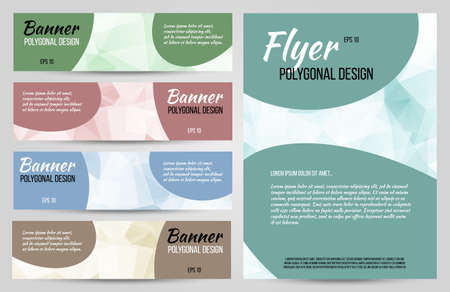 Abstract polygonal vector banners and flyer set. Low poly banners with triangles.