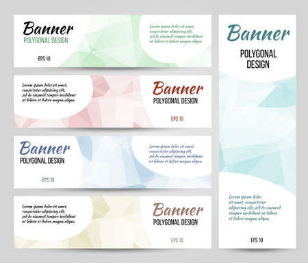 Abstract polygonal vector banners set. Low poly banners with triangles.