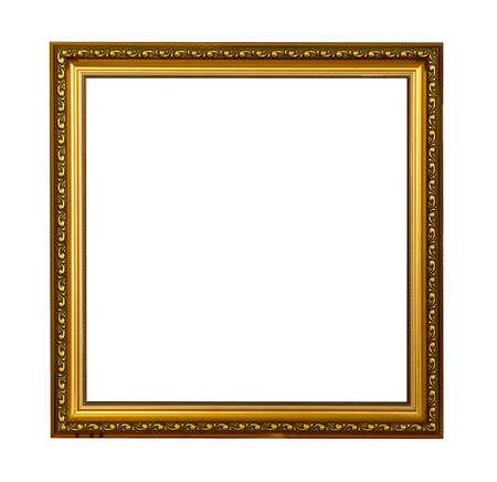 Golden vintage picture frame isolated on white background Reklamní fotografie