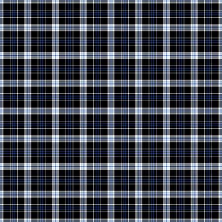 Black, blue and white plaid tissue seamless pattern