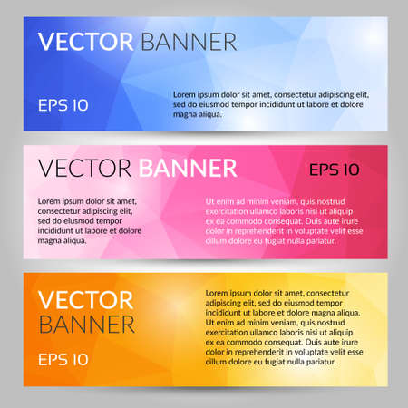 Abstract polygonal vector banners set. Low poly banners with triangles