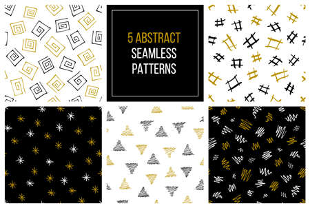 Set of vector hand drawn seamless patterns. EPS 10 Ilustrace